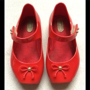 Mini Melissa Red Mary Jane Toddler Shoes, Size 7